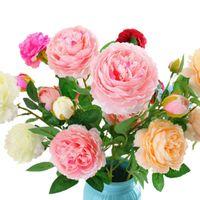 qualität echte berührung blumen großhandel-Künstliche Pfingstrose Seidenblume Hohe Qualität Real Touch Europäische Pfingstrose für Hochzeit Dekoration 3 Köpfe / bouquet