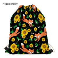 Wholesale pretty backpacks for girls for sale - Group buy Nopersonality Printing Sunflower Fox Travel Backpack Foldable Drawstring Bag for Women Pretty Student Girls School Bookbags