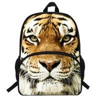 druck kinder junge rucksäcke taschen pu großhandel-16 Zoll Tiertasche Für Jungen Mädchen Schultasche Weiß Tiger Kopf Rucksack Für Kinder Druck Tiger Rucksack Kinder