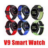 gravação de relógio grátis venda por atacado-V9 smartwatch android V8 DZ09 U8 samsung relógios inteligentes SIM O relógio inteligente do telefone móvel pode gravar o estado de sono Smart watch free DHL.