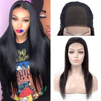 Wholesale Brazilian Human Hair Lace Front Wigs for Black Women Silky Straight x4 Closure Lace Wig High Quality Density Wig Natural Color