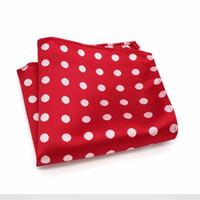 toallas rojas de lunares al por mayor-F056 Classic Pañuelo de los hombres de seda de la vendimia Jacquard tejido Hanky Red Polka Dot Pocket Square 25 * 25 cm Wedding Party Pecho Toalla