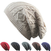 Wholesale wool cap pattern for sale - Group buy Women New Design Knitted Caps Beanies Twist Pattern Solid Color Women Winter Hat Knitted Sweater Fashion Hats ZZA876