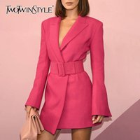 Wholesale ladies rose pink belts for sale - Group buy TWOTWINSTYLE Flare Sleeve Long Sleeve Notched Collar Rose Pink Blazer Dress with Belt Office Lady Women Mini Dresses Autumn