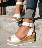 ingrosso i sandali coreani dei talloni dei talloni-2019 Estate Casual nuova versione coreana di Muffin pesce bocca scarpe con zeppa col tacco alto sandali piattaforma impermeabile tendenza all'ingrosso