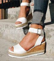 cuñas coreanas tacones sandalias al por mayor-2019 Summer Casual Nueva versión coreana del Muffin Fish Mouth Shoes Sandalias de cuña de tacón alto Plataforma impermeable Tendencia al por mayor