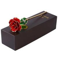 rosas de oro para el día de san valentín al por mayor-Blooming lacado oro 24K plateado Rosas Rose cumpleaños del Día de San Valentín regalo del aniversario artificial coche flor decoraciones interiores GGA1