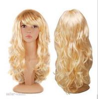 peruca loira escura cosplay venda por atacado-Peruca Frete Grátis Ondulado Dark Blonde Full Perucas Sexy Anime Party Cosplay Perucas para Senhora Mulheres
