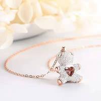 blinkender teddybär groihandel-2019SHI neue rosa Diamant Teddy intelligente weiße Bär Halskette Flash Herz Mode Anhänger ist süß