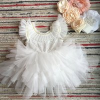 Wholesale beautiful party dresses for children for sale - Group buy Beautiful flower girls wedding dress children party tutu gown for kids children flowers sashes princess sling summer dress T200106