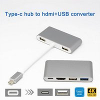 Wholesale micro usb hubs for sale - Group buy Type C To HDMI USB Charging Adapter Converter K Hub for MacBook Pro Pixel Huawei Mate10