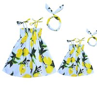 Wholesale matching family outfits for summer resale online - Vieeoease Girls Dress Lemon Family Matching Outfits Summer Straps Dress for Mommy and Me CC