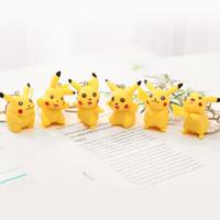 Wholesale hands bag cartoons resale online - Cartoon pet elf anime stereo Pikachu doll hand key ring ring pendant small gift birthday gift opp bag V108