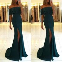 Wholesale black prom dresses online - Dark Green Mermaid Prom Party Dresses Sexy Off Shoulder Arabic Backless High Slit Sweep Train Plus Size Party Evening Gowns