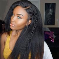 perucas de cabelo liso remy yaki venda por atacado-Malaio Kinky Em Linha Reta 360 Lace Front Peruca Pré Arrancado Com o Cabelo Do Bebê Yaki Dianteira Do Laço Perucas de Cabelo Humano Para A Mulher Negra Remy Beyo