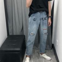 ingrosso blue jeans da uomo logo-TS lettera logo stampa jeans High Street moda casual comfort vendita calda pantaloni uomo designer donna coppia pantaloni blu TSYSKZ014