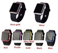 pulseira relógio digital venda por atacado-Hot New Square Mirror Face Silicone Band Digital Watch liga de luz vermelha shell LED Relógios de quartzo relógio de pulso esporte relógio horas