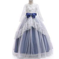 Wholesale clothes for kids winter online - Girls Princess Lace Dress Kids Floral Elegant Birthday Dress Flower Girls Wedding Party clothing For Girls Children Costume