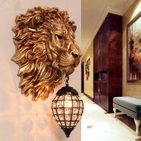 fondo interior vintage al por mayor-Retro Cabeza de león Lámparas de pared para interiores Sala de estar europea Dormitorio luz de pared Pasillo Escalera Iluminación Bar Fondo Decoración de pared Lámparas