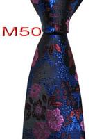 ingrosso legami floreali blu rosa-Classico 100% JACQUARD WOVEN HANDMADE Mens blu / rosso / rosa floreale uomini cravatta cravatta M50