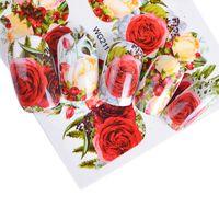 art noix jaune rouge achat en gros de-18pcs autocollant pour les ongles facultatif fleur coloré fleur rose eau de valentine Valentine Full Wraps Nail Art Stickers Charms Conseils