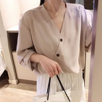 Wholesale korean loose cap for sale - Canggu wood spring new women s Korean version of the casual solid color v neck shirt loose thin bottoming shirt tide