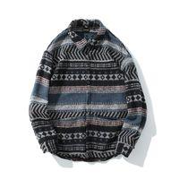 ingrosso vestito lungo dal manicotto giapponese-Geometric Woolen Shirt Men Women Long Sleeve Tribe Folk-custom Camicie da uomo Casual Vintage giapponese Streetwear Dress Abbigliamento Y190415