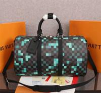 Wholesale travel bag big size resale online - HOT SELLS M40080 CLASSIC DESIGN TRAVEL BAGS Damier Graphite Pixel CANVAS BEST QUALITY DUFFLE LUGGAGE BAG BIG HANDBAG SIZE CM FREE SHIP