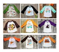 çocuklar yama gömlek toptan satış-Çocuk Kız T-shirt Bebek Noel Cadılar Bayramı Şükran Tişörtlü Unicorn Türkiye Kabak Patch Çizgili Noktalar Ruffle Kol Tees A101001 Tops