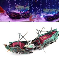 Wholesale sail boat decorations for sale - Group buy Creative Sunk Wreck Boat Aquarium Ship decorations Ship Sailing Boat Destroyer Air Split Shipwreck Fish Tank Cave Ornament New