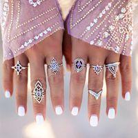 freie blumenmuster großhandel-7PCS / set silber ringe Lila kristall Höhlte blumen ringe für frauen modeschmuck mit extra kostenlose proben bei rando