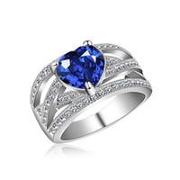 joyas para la venta de aniversario al por mayor-2018 venta caliente de 7 colores en forma de corazón cristalino de lujo de la manera del anillo de compromiso de las mujeres anillo aniversario de boda joyería y accesorios