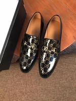 Wholesale black suede dress shoes men resale online - TOP Brand Red Bottom Loafers Luxurious Party Wedding Shoes Designer BLACK PATENT LEATHER Suede Dress Shoes For Men Slip On Flats d08