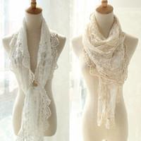 Wholesale crochet scarf tassels resale online - Women Lace Cape Scarf Ultra Long Milk Silk Tassel Cut Out Crochet Cashers Three dimensional Bohemia Flower White Scarves Shawls