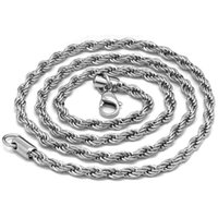 Wholesale silver rope chain 5mm resale online - Hiphop Silver plated MM mm Twisted Rope Chain Women s Choker Necklace for Men Hiphop Jewelry Gift in Bulk