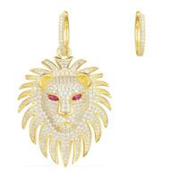 Wholesale gold lion earrings resale online - New Trendy Women Earrings Yellow Gold Plated CZ Lion Head Earrings for Girls Women Nice Gift