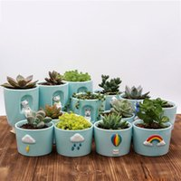 Wholesale hand painted plant for sale - Group buy Succulent Celadon Flower Pot Green Plant Small Flower Pot Hand painted Creative Ceramic Mini Potted Cartoon Personality Simple XD23085