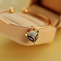 bracelet de renard achat en gros de-Charme Bracelets Blanks Charmant Belle Simple Bling Rose Or Rose Strass Pendentif Ouverture Manchette Bracelets Bracelets