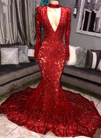 Wholesale long sleeve formal dresses for sale - Vintage Long Sleeves Mermaid Evening Dresses Sexy Deep V Neck Appliques Beads Red Royal Blue Formal Party Celebrity Gowns With Choker BC0842