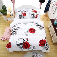 Wholesale skull bedding resale online - Skull Rose Bedding Set White Color Print Duvet Cover Pillowcases Twin Queen King Size Bed Cover Bedclothes Dropshipping