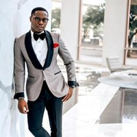 châle africain achat en gros de-Un bouton Africain smokings de mariage costumes châle revers Slim Fit hommes marié porter des smokings de mariage sur mesure deux pièces (veste + pantalon)