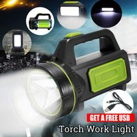 batería led spotlight al por mayor-Lampe llevó el proyector portátil llevó la luz al aire libre de la luz de la batería recargable del trabajo para la caza que acampaba Latern