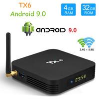 tv wifi bluetooth hdmi venda por atacado-Caixa de TV TX6 Android 9.0 4 GB32 GB 2 GB16 GB DDR3 Allwinner H6 EMMC 2.4G5G WiFi Bluetooth 4.2 Smart TV Set Top Box