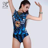 blauer lycra-anzug großhandel-Königin Elastizität Kurzen Ärmeln einteiliger Badeanzug Hot Printed 3D Hohe Taille Bademode Blau Pfau Federn Push Up Badeanzug