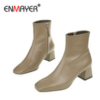 Wholesale leather short boots for women for sale - Group buy ENMAYER Fashion Ankle Boots for Women Genuine Leather Slip On Boots Square Toe Women Short Plush Shoes