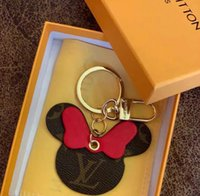 Wholesale With box Best gift lovers Luxury jewelry Mickey key chain Top quality Leather hardware K Gold car key pendant Women Fashion accessories