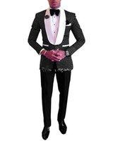 ingrosso pantaloni black dot-Più nuovo One Button Nero Polka Dot Wedding Groom Smoking Scialle Risvolto Groomsmen Mens Dinner Blazer Abiti (Jacket + Pants + Tie) 258