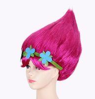 sombrero decoración de cabello al por mayor-Dibujos animados flor trolls Party Girls de la niña de la amapola de la peluca niño Copyplay Decoración Troll Artículos de fiesta sombreros de pelo del regalo del cabrito