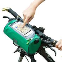 ingrosso borsa del telefono del manubrio-Borse per bicicletta Manubrio Anteriore Tubo impermeabile per telefono cellulare Borsa touch screen Accessori per abbigliamento Ciclismo 5 colori MMA2155