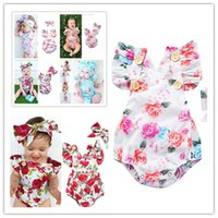Wholesale jumping baby clothes for sale - Group buy Newborn Toddler Baby Girls Floral Romper Bodysuit with Hairwrap Head Bands Summer Sleeveless Jump Suit Climbing One piece Clothes Set D3304